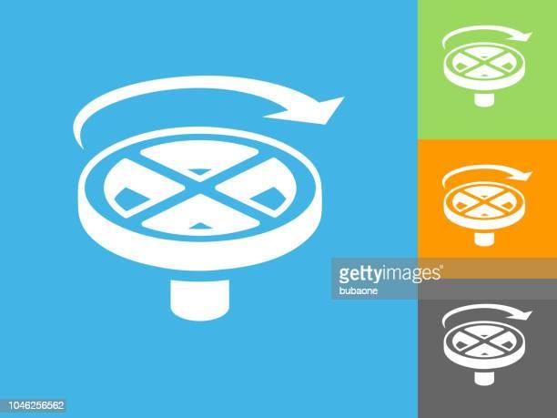 Valve Handle Flat Icon on Blue Background