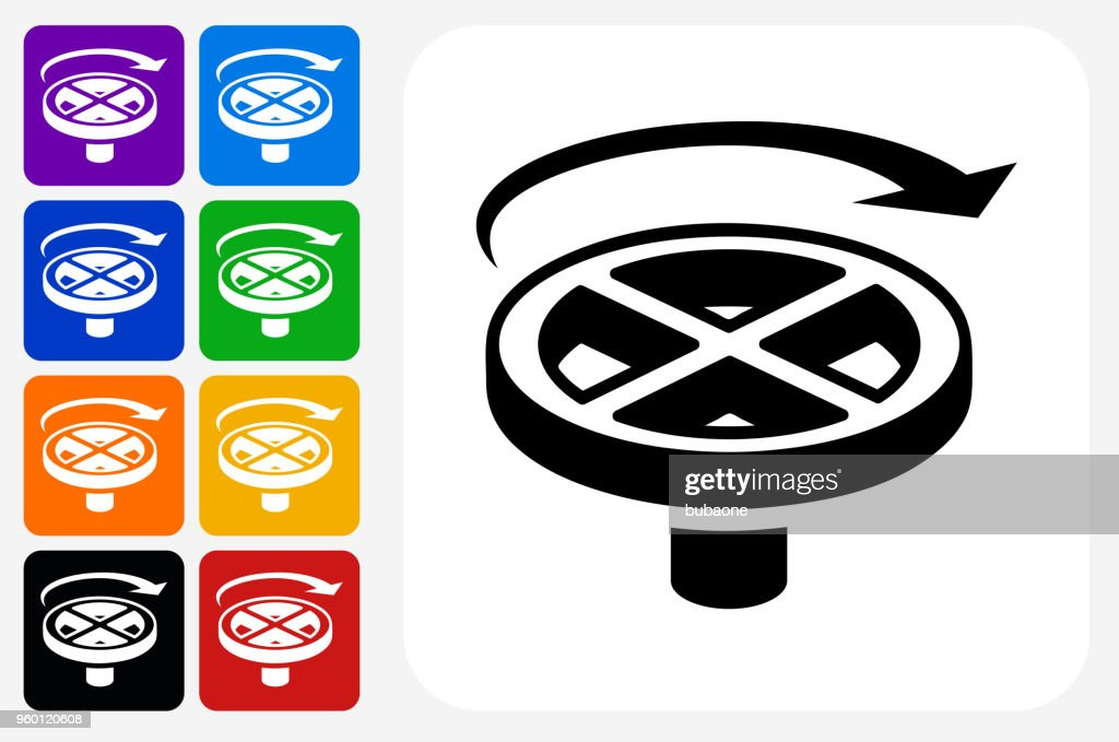 Valve Handle Icon Square Button Set : stock illustration