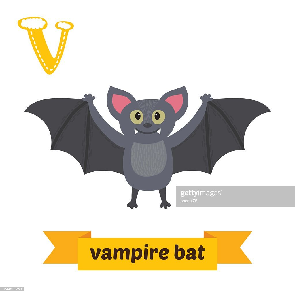 Vampire bat. V letter. Cute children animal alphabet in vector.