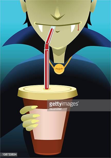 vampire coffee drinker - vampire stock illustrations, clip art, cartoons, & icons