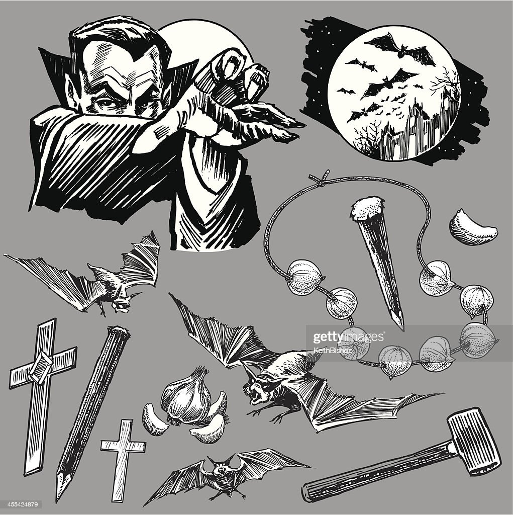 Vampire Dracula Collection with Bats for Halloween : stock illustration