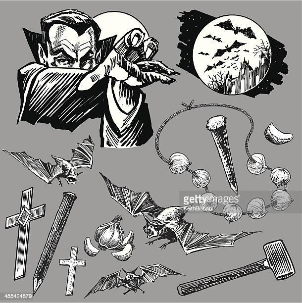 Vampire Dracula Collection with Bats for Halloween