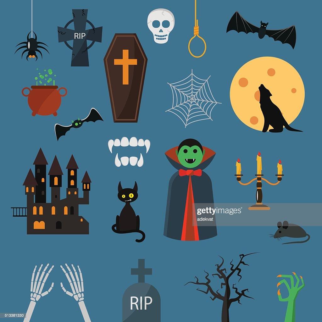 Vampire dracula symbols icons vector set