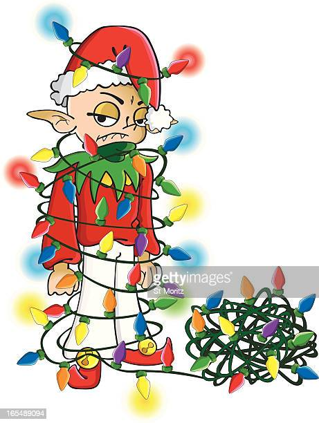 vampire elf with christmas lights - tied up stock illustrations