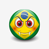 Vampire emoticon with Brazil flag motive isolated on white background - smiley - vector illustration