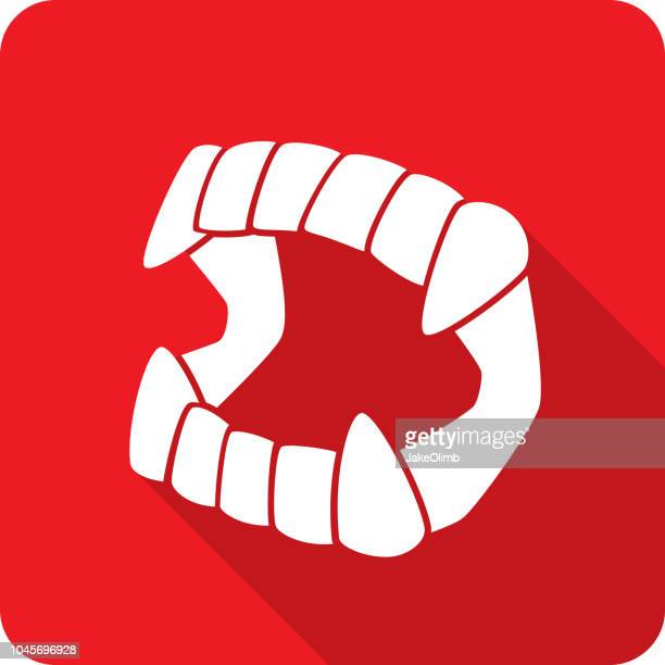 vampire fangs toy icon silhouette - vampire stock illustrations, clip art, cartoons, & icons