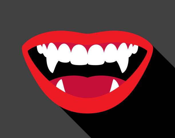 vampire fangs - lips stock illustrations