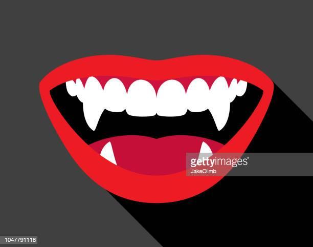 ilustraciones, imágenes clip art, dibujos animados e iconos de stock de vampiro fangs - vampiro