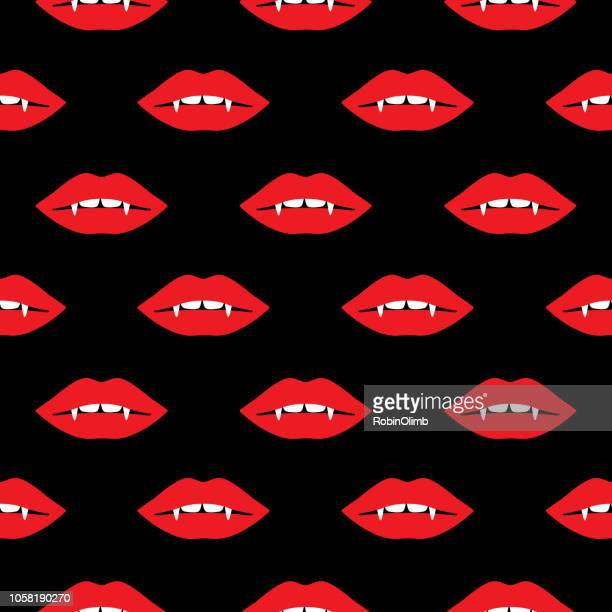 vampire lips seamless pattern - vampire stock illustrations