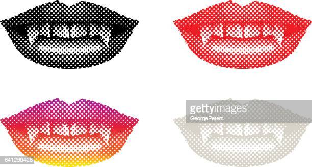 vampire mouth with fangs - vampire stock illustrations, clip art, cartoons, & icons