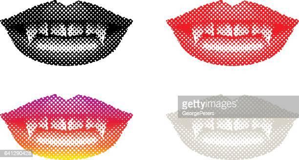 ilustraciones, imágenes clip art, dibujos animados e iconos de stock de boca de vampiro con colmillos - vampiro