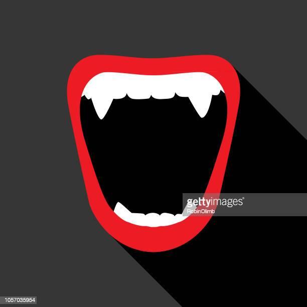 vampire teeth icon - lip gloss stock illustrations, clip art, cartoons, & icons
