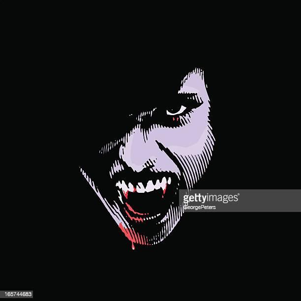 ilustraciones, imágenes clip art, dibujos animados e iconos de stock de vampiro con sangrientos fangs - vampiro