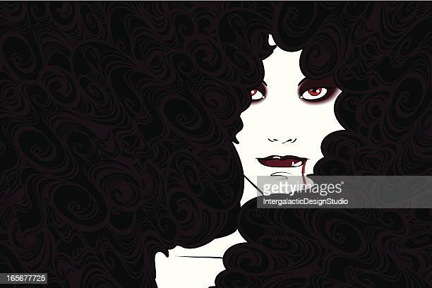 vampire woman - goth stock illustrations, clip art, cartoons, & icons