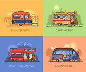 Van and truck for travels, recreational vehicle
