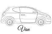 Van car body type outline