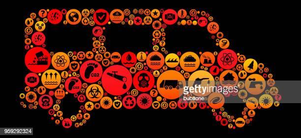ilustraciones, imágenes clip art, dibujos animados e iconos de stock de vector icono patrón del cambio del clima van - gas de efecto invernadero