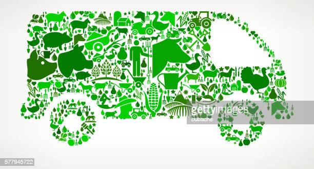 Van Farming and Agriculture Green Icon Pattern