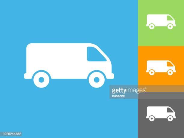 Van  Flat Icon on Blue Background