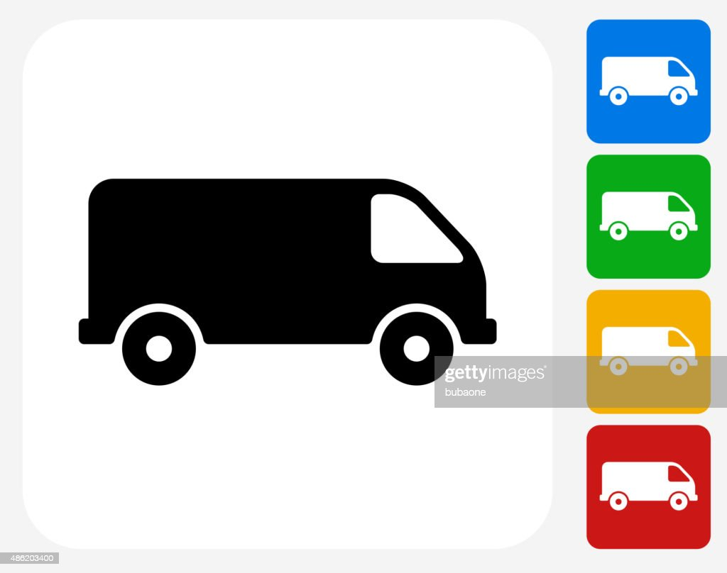 Van Icon Flat Graphic Design