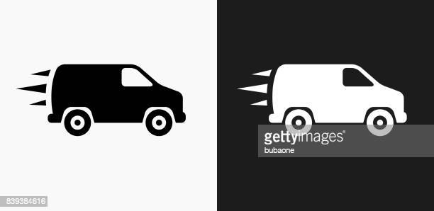 van icon on black and white vector backgrounds - clip art stock illustrations, clip art, cartoons, & icons