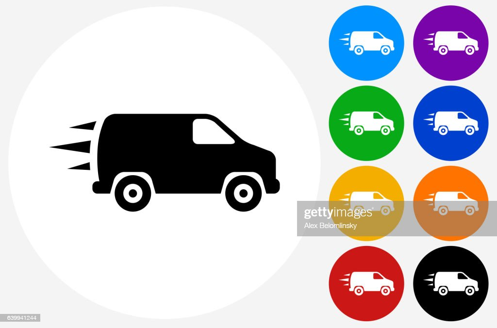 Van Icon on Flat Color Circle Buttons : Stock Illustration