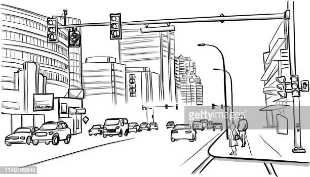 vancouver street - sketch stock illustrations
