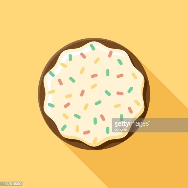 vanilla glazed donut icon - icing stock illustrations