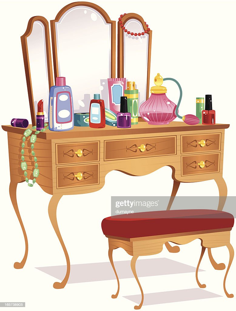 Vanity table and mirrors