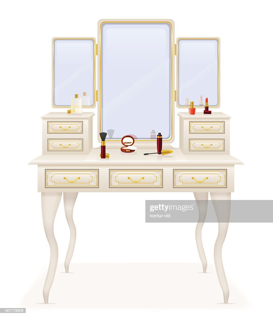 vanity table old retro furniture vector illustration