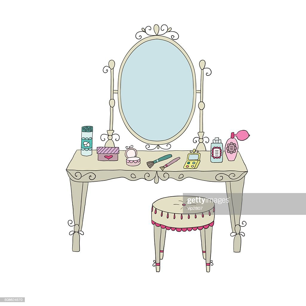 Vanity table with makeup and a chair : Vector Art