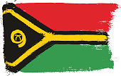 Vanuatu Flag Vector Hand Painted with Rounded Brush