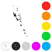 Vanuatu map - Flat icons on different color buttons
