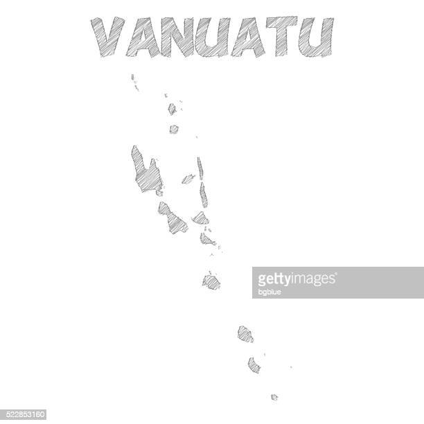 Vanuatu map hand drawn on white background