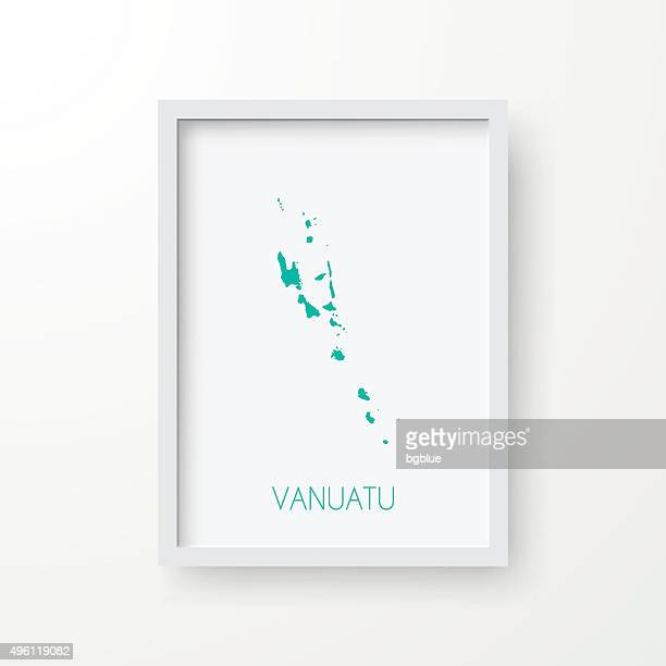 Vanuatu Map in Frame on White Background