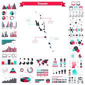 Vanuatu map with infographic elements - Big creative graphic set