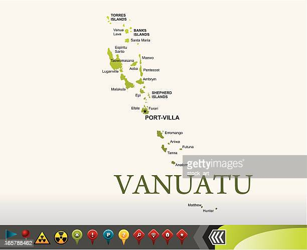 Vanuatu map with navigation icons