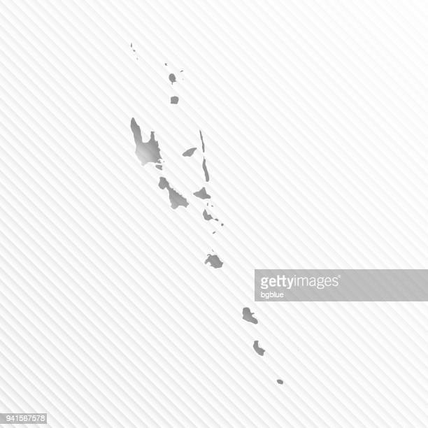 Vanuatu map with paper cut on abstract white background