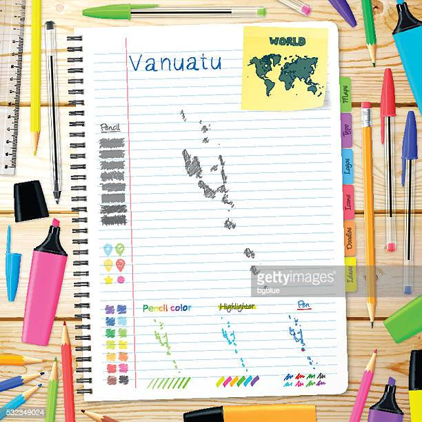 Vanuatu maps hand drawn on notebook. Wooden Background