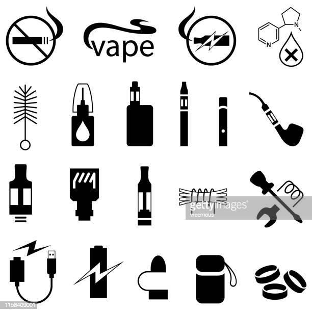 ilustraciones, imágenes clip art, dibujos animados e iconos de stock de iconos de productos vapeya y e-cigarette - cigarrillo