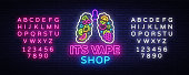 Vape shop neon sign vector. Vaping Store Logo Emblem Neon, Its Vape Shop Concept With Lungs and Fruits, Fighting Smoking. Trendy designer elements for advertising. Vector. Editing text neon sign