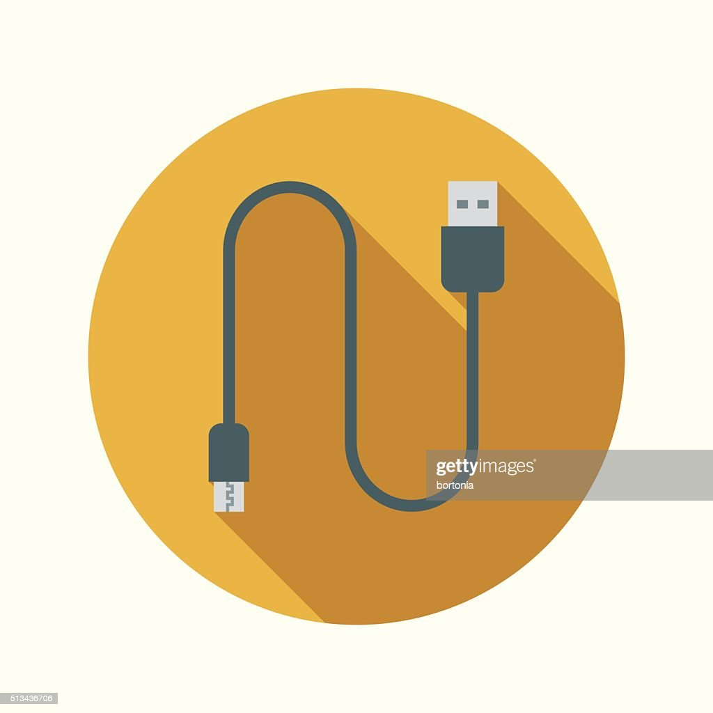 Vaping Electronic Cigarette Micro USB Cable Flat Design Circular Icon : stock illustration