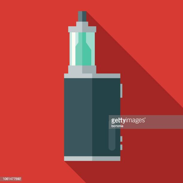 vaping mod and atomizer flat design icon - electronic cigarette stock illustrations, clip art, cartoons, & icons