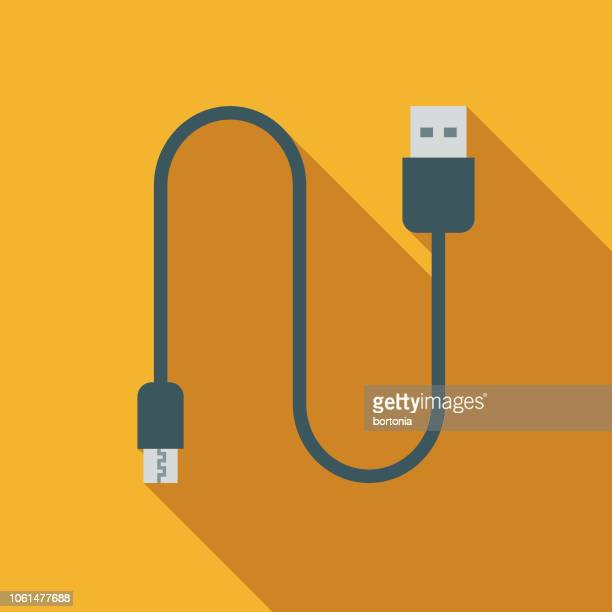ilustrações, clipart, desenhos animados e ícones de ícone de design plano de cabo usb vaping - usb cable