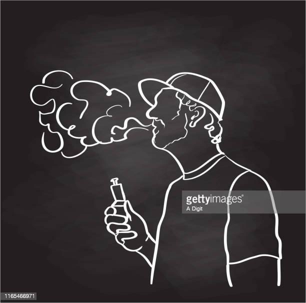 蒸気対喫煙タバコチョーク - 野球帽点のイラスト素材/クリップアート素材/マンガ素材/アイコン素材