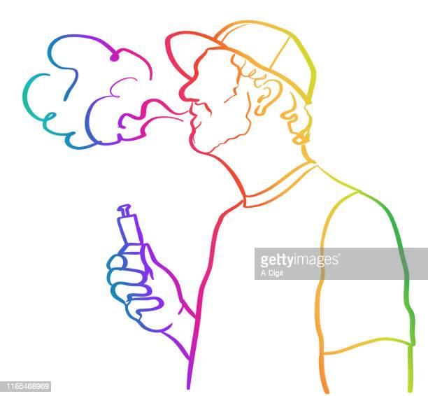 vaping versus smoking tobacco rainbow - electronic cigarette stock illustrations, clip art, cartoons, & icons