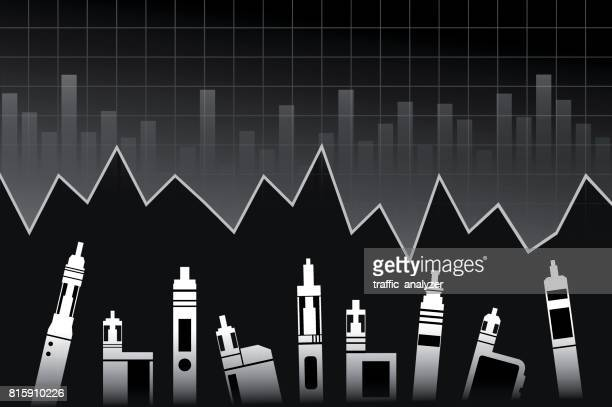 vaporizers finance background - electronic cigarette stock illustrations, clip art, cartoons, & icons