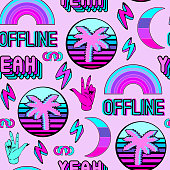 "Vaporwave seamless pattern with patches, stickers, badges, pins with palms, words ""yeah"", ""offline"", rainbows, etc. Violet background."