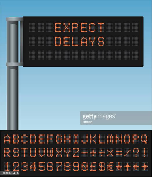 variable message sign - road sign stock illustrations, clip art, cartoons, & icons