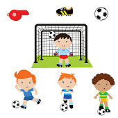variation of cute little boy with variation soccer position, cartoon character